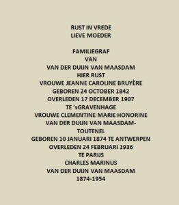 Afb. 3: De tekst op het graf Van der Duyn van Maasdam.
