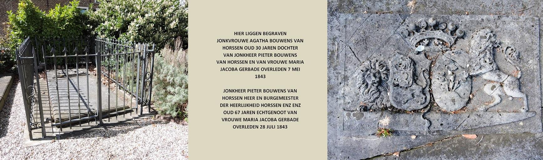 Afb. 2. Het graf van jonkheer Pieter Bouwens van Horssen (1775-1843) en van zijn oudste dochter freule Agatha Bouwens van Horssen (1812-1843), met het alliantiewapen Bouwens van Horssen-Gerbade.