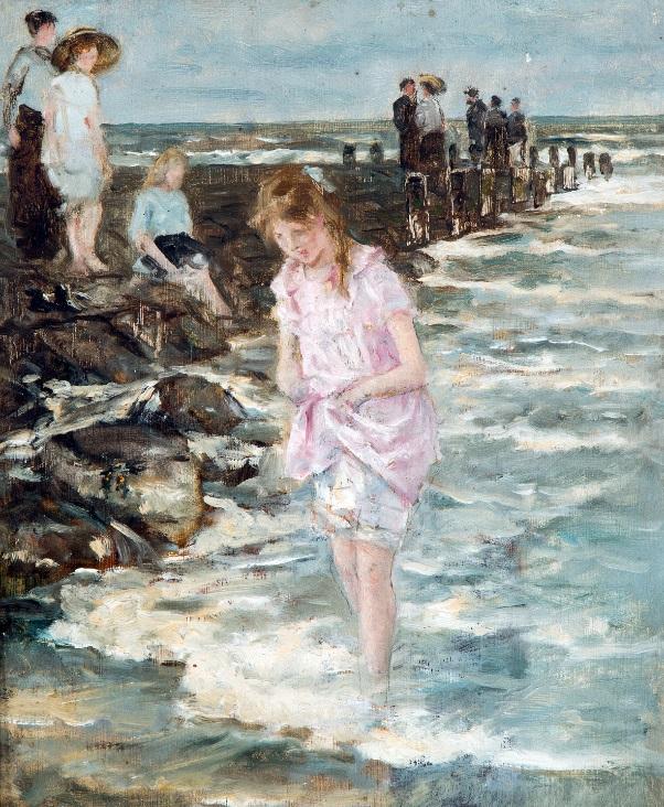 Afb. 'Pootje baden aan zee' door jonkheer mr. Johan Anthonie de Jonge (1864-1927), foto met dank aan www.venduehuis.com.