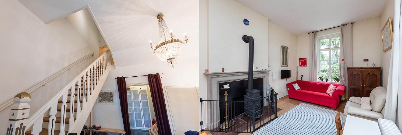 Afb. 2 en 3. De trap en de woonkamer in het achterhuis van Herinckhave, foto's met dank aan Weusthuis Makelaardij.