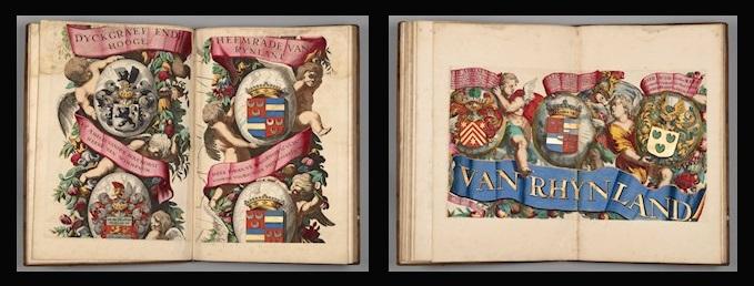 Afb. Fraai ingekleurde Van Wassenaer familiewapens in de historische atlassen.