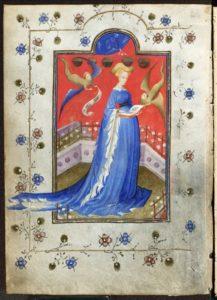Afb. Maria Hertogin van Gelre, zoals zij afgebeeld staat in haar gebedenboek. Foto met dank aan www.ru.nl/mariavangelre.
