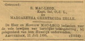 MacLeod-Zelle, huwelijksannonce