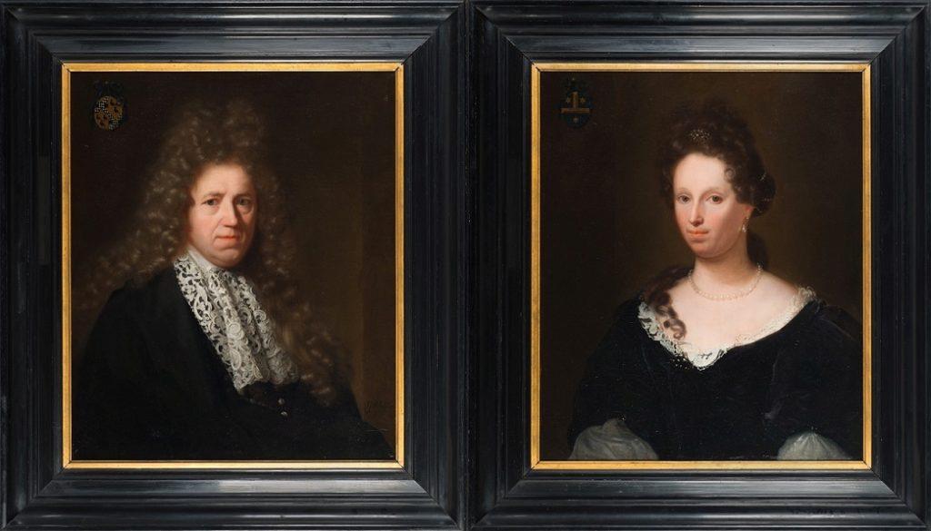 Afb. 3 en 4. Cornelis van Aerssen (1646-1728) en Maria Pauw (1653-1733) door Godfried Schalcken, de portretten zijn t/m 26 juni te bewonderen in het Dordrechts Museum op de tentoonstelling 'Schalcken, kunstenaar van het verleiden'