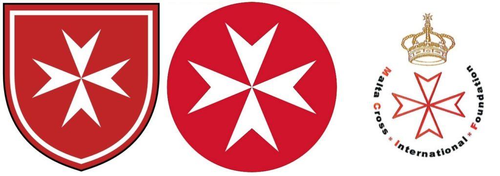 Afb. 3. V.l.n.r het logo van de Orde van Malta, de Johanniter Orde en de Malta Cross InternationalFoundation