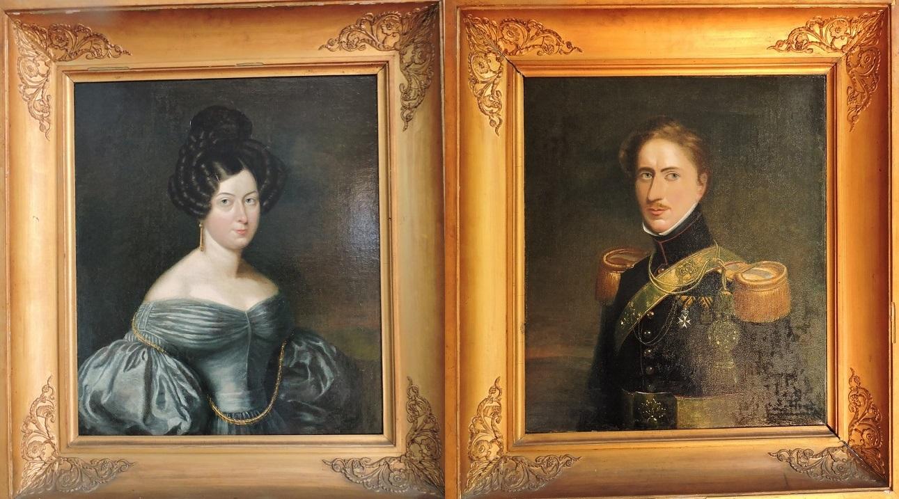 Afb. Jonkheer Willem Philip Barnaart (1806-1848) rn echtgenote Helena Christina Georgetta Barnaart née Bekkers (1812-1869). Hij was een zoon van de bouwheer en beide portretten hangen in de dagelijkse eetkamer.