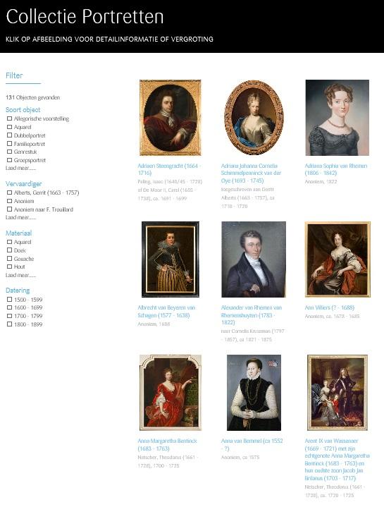 Afb. Screenshot van de online database, foto met dank aan www.kasteelduivenvoorde.nl.