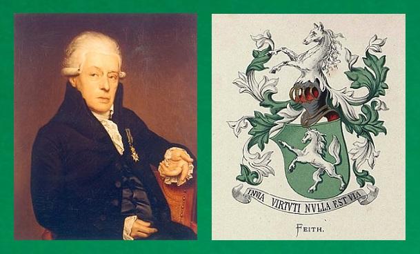 Afb. Links de schrijver en dichter Rhijnvis Feith (1753-1824) met rechts het familiewapen.