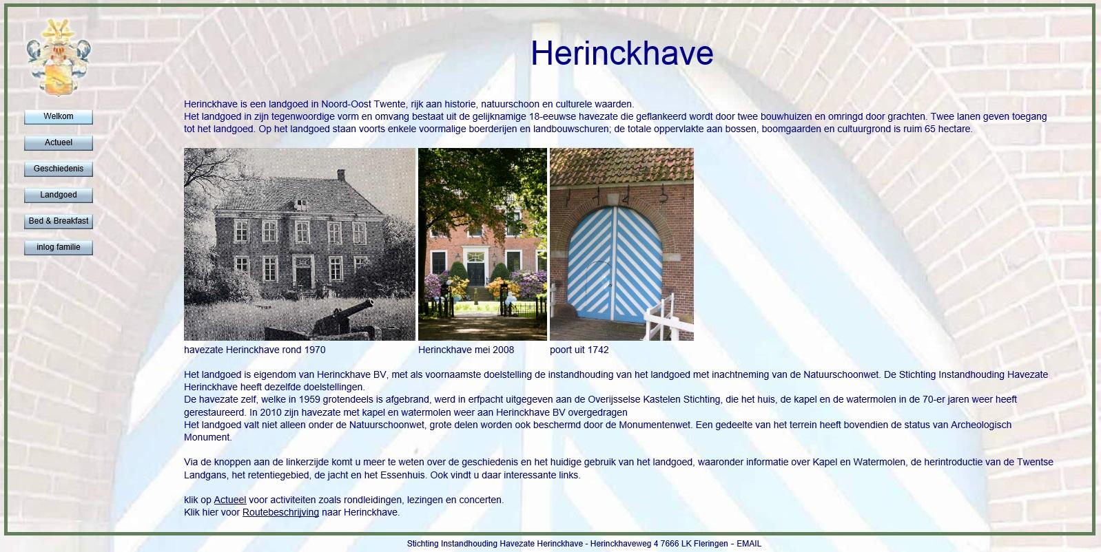 Afb. Screenshot van de startpagina van de vernieuwde website van landgoed Herinckhave.