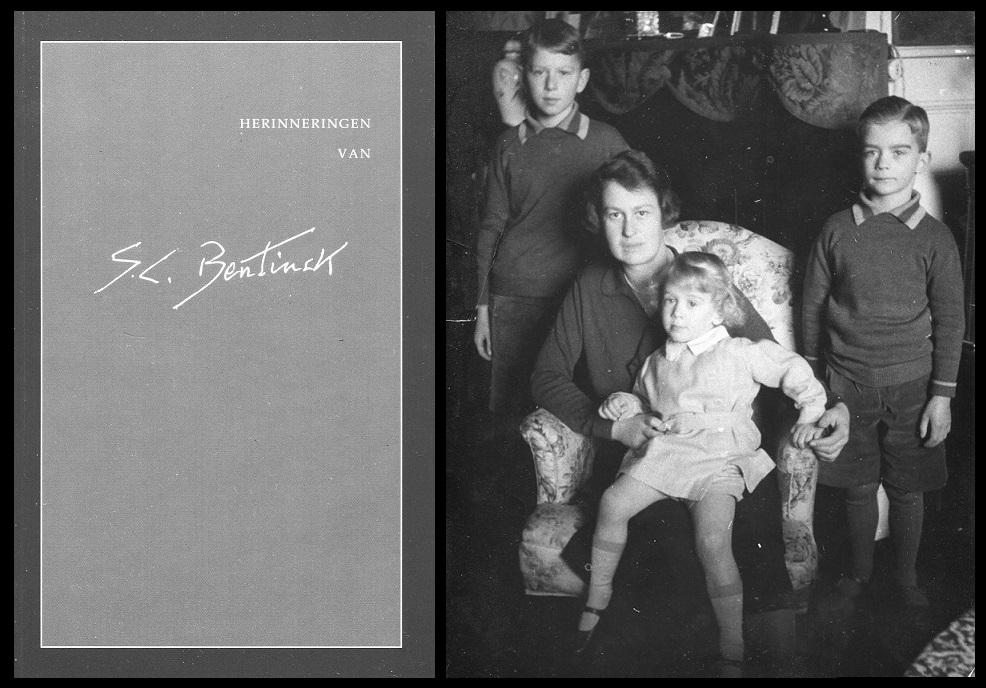 Afb. links de voorkant van het boekje te zien en rechts Elizabeth gravin van Aldenburg Bentinck met haar drie kinderen Wilhelm-Viktor (1921-2016), Siegfried (1923) en Rüdiger (1929-1993), foto part. coll.