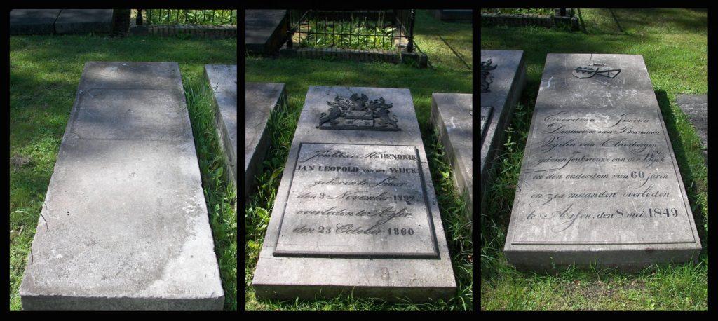 Afb. Op de foto's v.l.n.r. de grafstenen Vegelin van Claerbergen, Van der Wyck en Vegelin van Claerbergen-Van der Wyck.