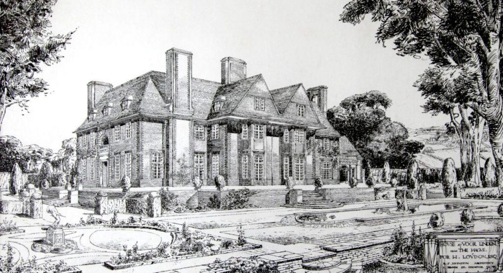 Afb. 1. Een ets uit circa 1912 van Voorlinden met het huis en tuinen naar het ontwerp van de Engelse architect R.J. Johnston. Foto met dank aan www.voorlinden.nl.