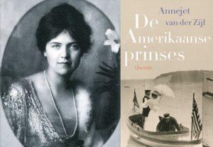 Afb. Rechts de voorkant van het boek 'De Amerikaanse prinses' en  links Allene Tew, de hoofdpersoon.