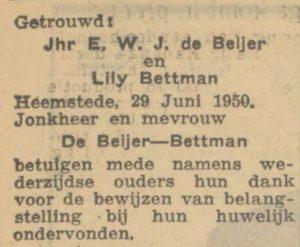 Afb. 2. Huwelijksannonce in het Algemeen Handelsblad 29 juni 1950.