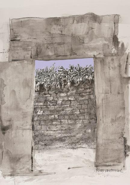 Afb. 3. Mycene, door de poort. Tekening, gemengde techniek, 2012. Foto met dank aan Coloron, Haarlem.