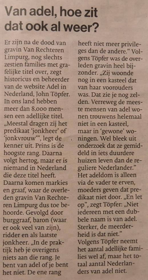 Afb. 2. 'Van adel, hoe zit dat ook al weer?', De Stentor 29 oktober 2016.