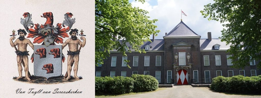 Afb. Het familiewapen Van Tuyll van Serooskerken en het kasteel Heeze. Foto van kasteel Heeze met dank aan www.kasteelheeze.nl.