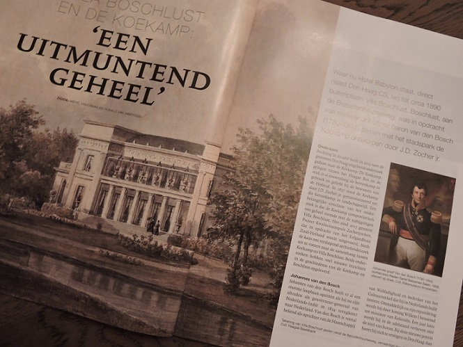 Afb. Het artikel in Arcadië over Villa Boschlust van Johannes graaf van den Bosch.