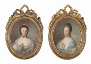 Afb. 2. Isabelle Agneta van Lockhorst (links) en Agneta Geertruida van Lockhorst (rechts), portretten door Guillaume de Spinny, die in november 2015 bij Christie's geveild werden.