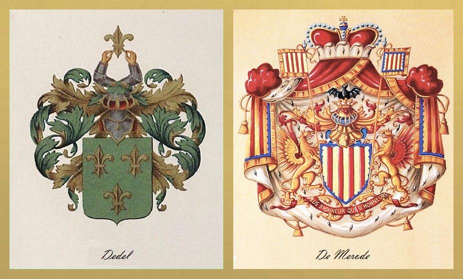 Afb. De familiewapens Dedel en De Merode.
