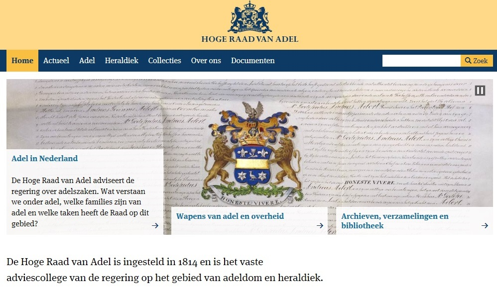 Afb. Screenshot van de vernieuwde website van de Hoge Raad van Adel.