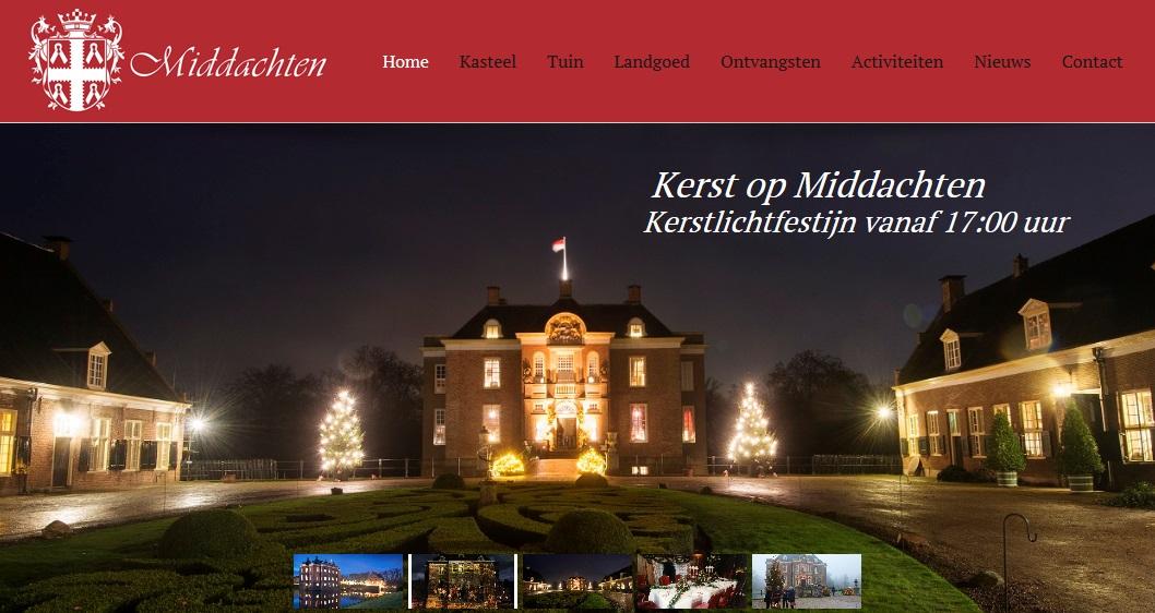 Afb. 1. Kasteel Middachten in kerstsfeer. Screenshot met dank aan de website www.middachten.nl.