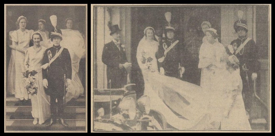 Afb. 3. Het echtpaar Van Haersolte-Van Haersolte van Haerst op hun huwelijksdag in 1937 bij het verlaten van het stadhuis in 's-Gravenhage. De linker foto is afkomstig uit het Algemeen Handelsblad van 30 april 1937 en de rechter foto uit de Haagsche Courant van 29 april 1937.