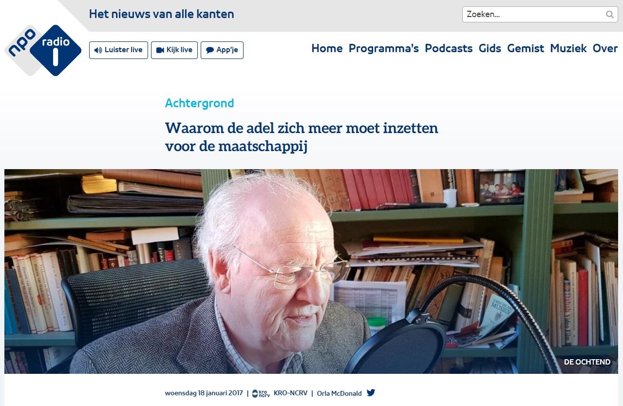 Afb. Ruud baron van Hövell tot Westerflier. Screenshot met dank aan www.nporadio1.nl.