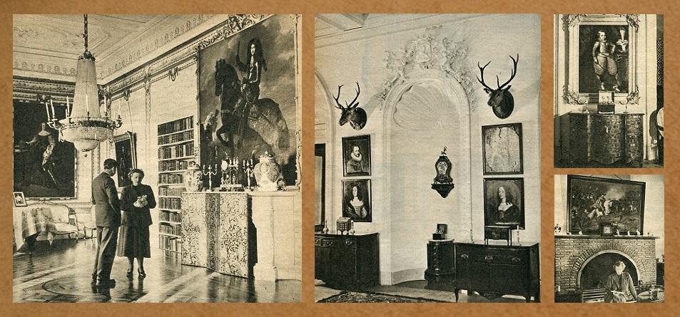 Afb. 2. Een compilatie van interieurfoto's ten tijde van de bewoning door Lutgardis Gräfin zu Castell-Castell née gravin van Rechteren Limpurg. Foto's part. coll.