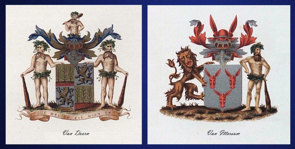 Afb. De familiewapens Van Doorn en Van Ittersum.