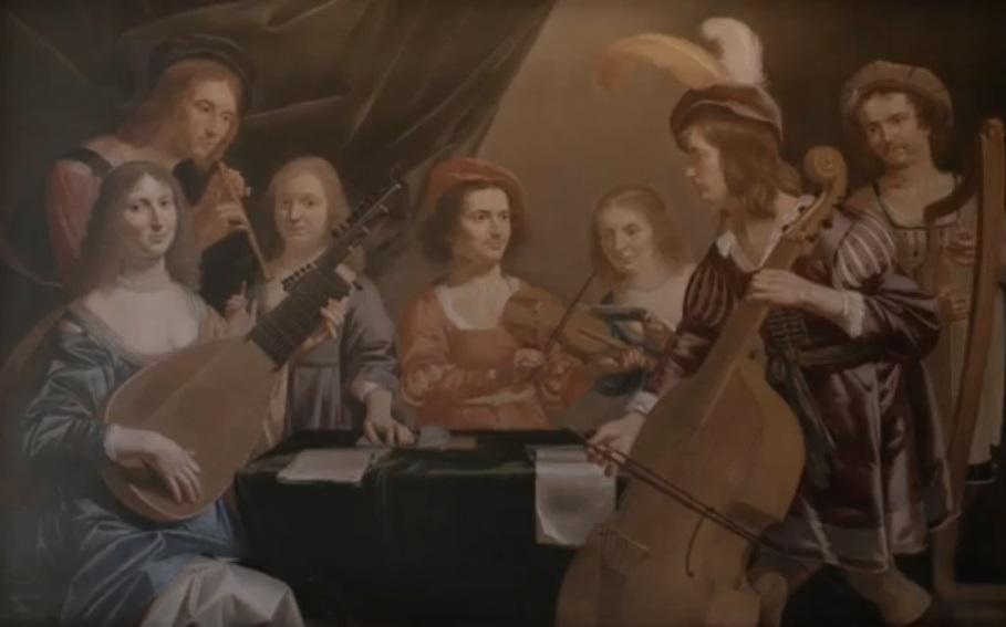 Afb. 2. Het teruggevonden familiegroepsportret door Jan van Bijlert. V.l.n.r. Jacobina Jacoba Deliana Meyen-van Haeften (1611-1655), Jacob Meyen (†1641), domheer van St. Marie, Cornelia van Haeften (1622-1678), Jacob van Haeften (1617-1666), advocaat in het Hof van Holland, Sibilla Versteeghe-van Haeften (1609-1662), Johan van Haeften (1614-1653) en Diederik Versteegh (†1662). Screenshot met dank aan de TEFAF. Identificatie met dank aan https://rkd.nl/nl/explore/images/record?query=haeften+bijlert&start=0.