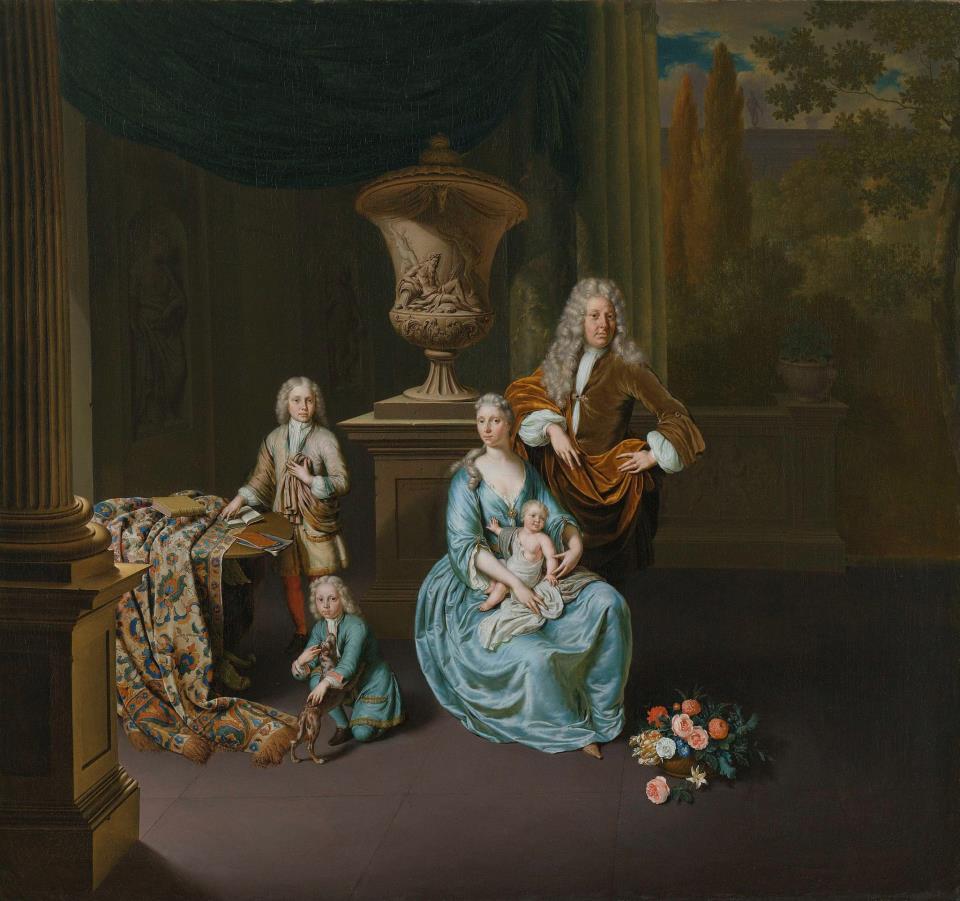 Afb. Familieportret Van Leyden door Willem van Mieris in de collectie van het Rijksmuseum in Amsterdam.