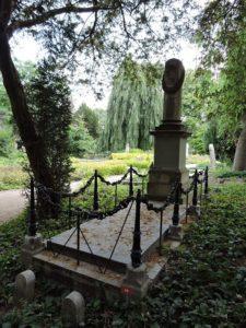 Afb. 1. Het grafmonument voor de jonggestorven jonkheer met de omgekeerde toortsen als hekpaaltjes; symbool voor het uitgedoofde leven.