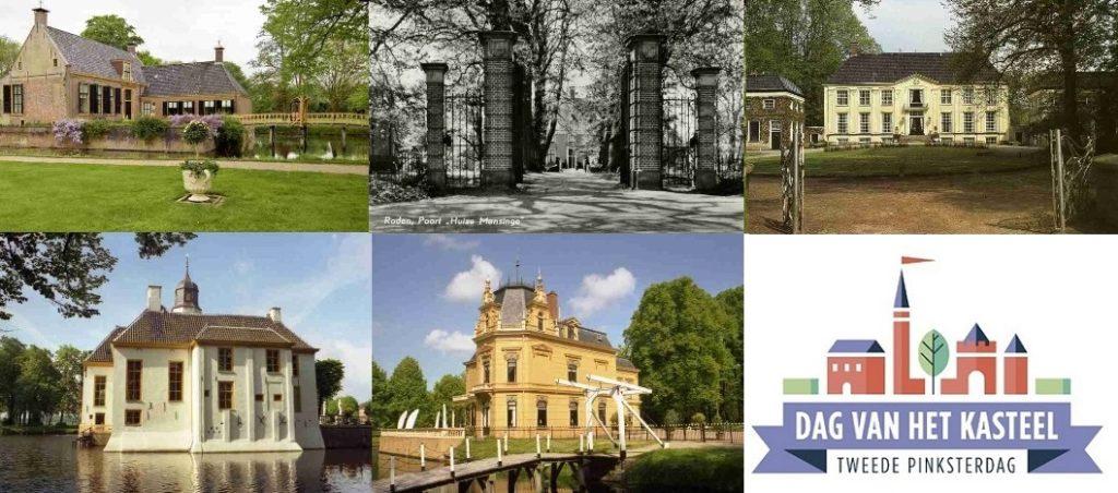 Afb. 1. Enkele voorbeelden van opengestelde kastelen in Groningen, Friesland en Drenthe op de Dag van het Kasteel. Foto's met hartelijke dank aan www.dagvanhetkasteel.nl.