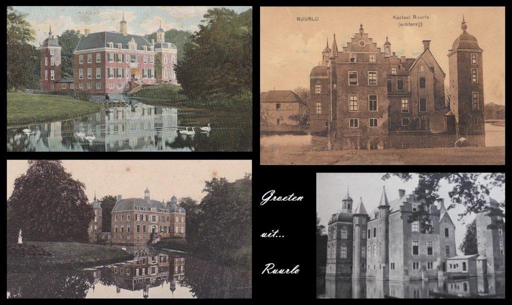 Afb. Een compilatie van oude ansichtkaarten van kasteel Ruurlo van omstreeks 1900.