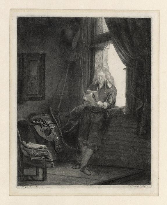 Afb. Rembrandt van Rijn, Jan Six, 1647, ets, Museum Het Rembrandthuis.