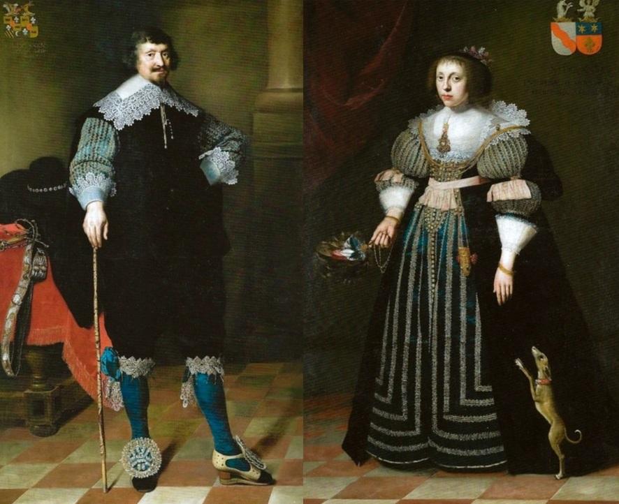 Afb. Wytze van Cammingh en Sophia van Vervou op hun huwelijksportretten door Wybrand de Geest. Foto's met dank aan www.museummartena.nl.