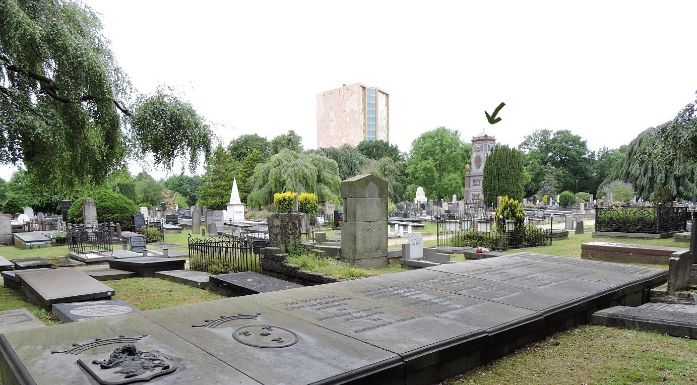 Afb. 1. Op de voorgrond de sobere graven van Groninger adel, waar op de steen slechts de familiewapens volstaan, terwijl op de achtergrond (onder het pijltje) het imposante grafmonument van de 19e-eeuwse industriëlenfamilie Scholten boven alle graven uittorent.
