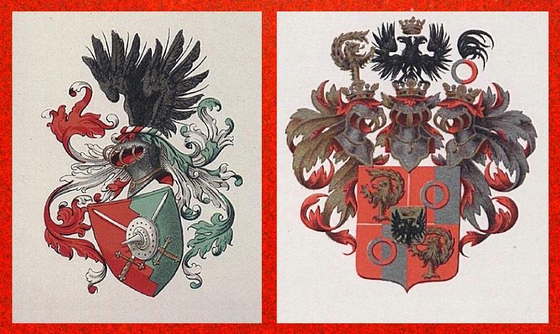 Afb. Links het familiewapen van de patriciaatsfamilie Vriesendorp en rechts het Van Imhoff wapen.