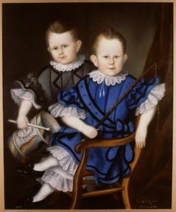 Afb. 3. De broertjes Boddaert geschilderd door hun moeder Sara Agatha le Jolle: links Jacques Phoenix (1811-1885) en rechts Willem Reinbrand (1812-1888). Door de verheffing van hun vader in de Nederlandse adel kregen zij en hun nakomelingen in 1832 het predikaat jonkheer/jonkvrouw. Foto met dank aan het RKD.
