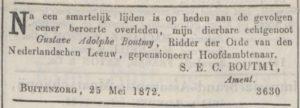 Afb. 3. Overlijdensannonce in de Java Bode van 30 mei 1872.