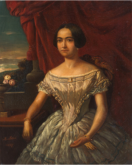 Afb. Elisabeth Sophia Catharina Boutmy née Ament (1830-1898), olieverfportret door Raden Sjarief Bustaman Saleh (1811-1880), gesigneerd en gedateerd 1857, 57x47 cm, kavel 90, 10.000-15.000 euro.