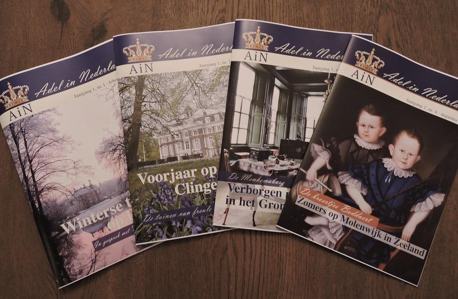 Afb. Het februari-, april-, juni- en augustusnummer van het magazine van AiN.