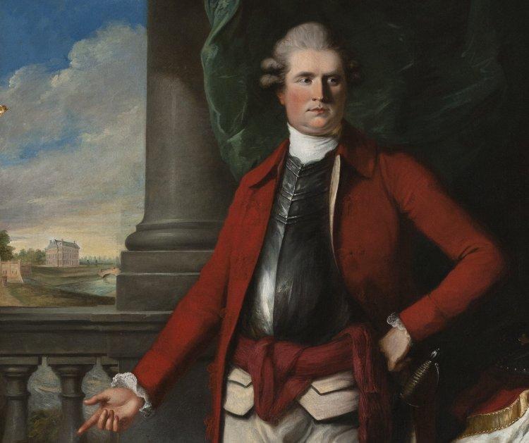 Afb. Frederik Christiaan Reinhard des H.R. Rijksgraaf van Reede, 5th Earl of Athlone (1743-1808), op zijn portret op de bovengalerij van kasteel Amerongen. Foto met dank aan www.kasteelamerongen.nl.