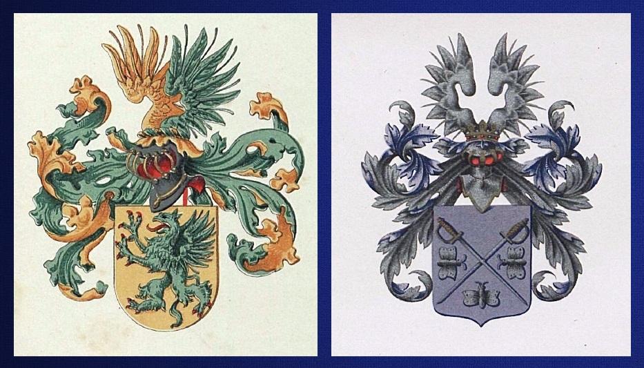 Afb. Links het wapen Stuyling de Lange en rechts het wapen Van Haersma de With.