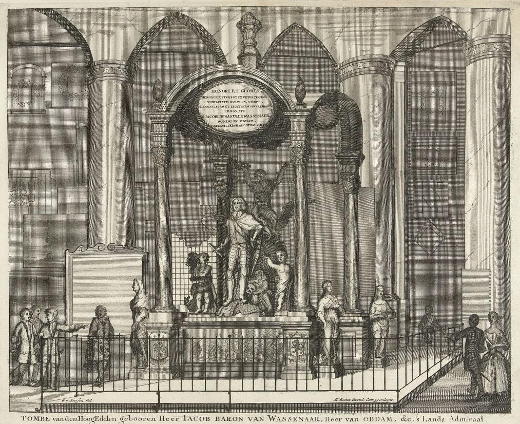 Afb. 2. De 18e-eeuwse gravure van het praalgraf voor Jacob van Wassenaer in de Grote of Sint-Jacobskerk in 's-Gravenhage.