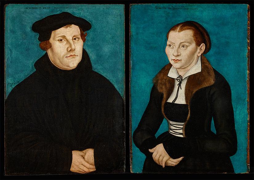 Afb. Maarten Luther en Katharina von Bora op hun portretten door Cranach. Bron: http://www.credomag.com/2017/10/02/the-reformation-of-the-family/.