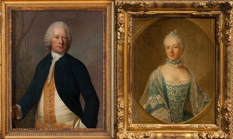 Afb. 1. Diederik Jacob van Tuyll van Serooskerken (1707-1776) en de schrijfste Belle van Zuylen (Isabella Agneta van Tuyll van Serooskerken) (1740-1805). Foto's met dank aan www.slotzuylen.nl.