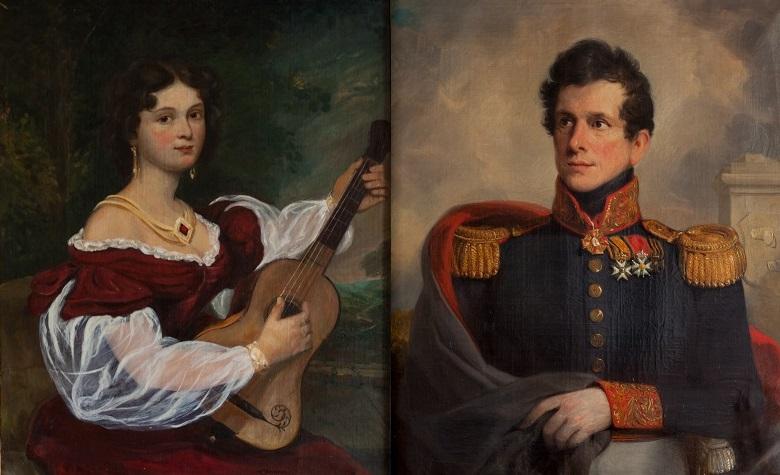 Afb. 2. Johanna Magdalena barones van Tuyll van Serooskerken née Ringeling (1790-1850) en echtgenoot Vincent Johan Reinier baron van Tuyll van Serooskerken (1792-1840). Foto's met dan aan www.slotzuylen.nl.