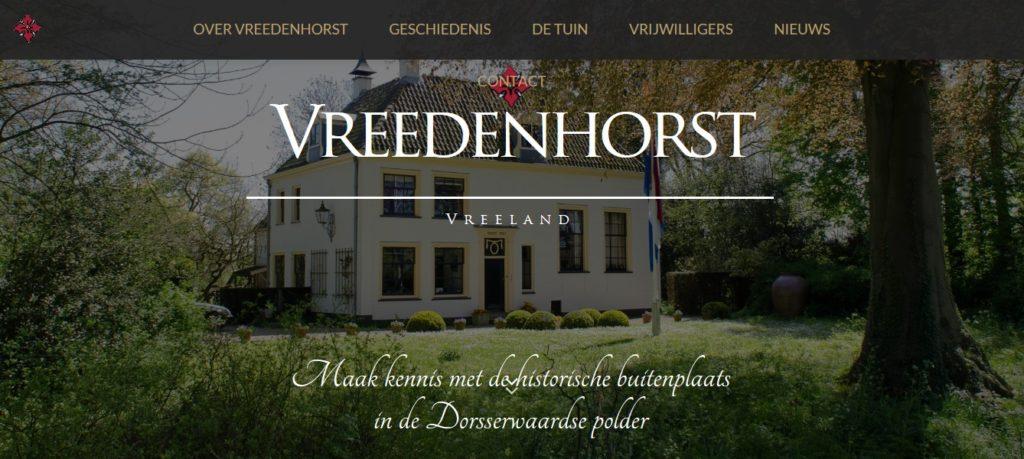 Afb. De startpagina van de nieuwe website van Vreedenhorst met zicht op deze historische buitenplaats.